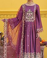 Purple Cotton Satin Suit- Pakistani Designer Chiffon Suit
