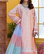Peach Cotton Satin Suit- Pakistani Designer Chiffon Suit
