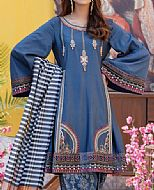 Blue Cotton Satin Suit- Pakistani Designer Chiffon Suit