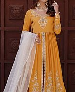 Gold Yellow Cotton Satin Suit- Pakistani Designer Chiffon Suit