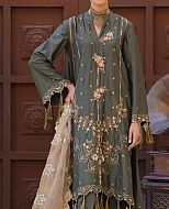 Olive/Grey Cotton Satin Suit- Pakistani Designer Chiffon Suit
