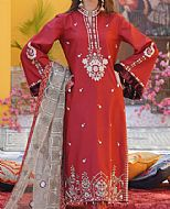 Crimson Cotton Satin Suit- Pakistani Designer Chiffon Suit