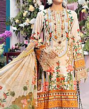 Beige/Mustard Lawn Suit- Pakistani Designer Lawn Dress