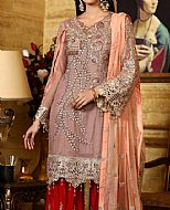 Mauve/Peach Chiffon Suit- Pakistani Chiffon Dress