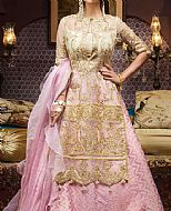 Gold/Pink Organza Suit- Pakistani Chiffon Dress