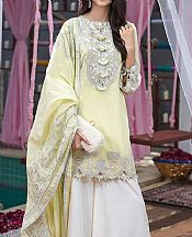 Lime Yellow Cotton Net Suit- Pakistani Lawn Dress