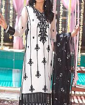 Off-white/Black Organza Suit- Pakistani Designer Chiffon Suit