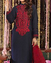 Navy Cotton Jacquard Suit- Pakistani Designer Chiffon Suit