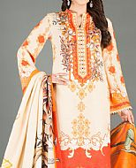 Off-white/Orange Karandi Suit- Pakistani Winter Dress