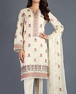 Cream Swiss Lawn Suit (2 Pcs)- Pakistani Designer Lawn Dress
