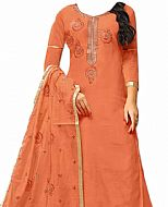 Coral Silk Suit- Indian Semi Party Dress