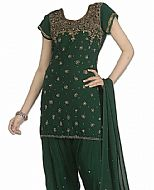 Bottle Green Chiffon Suit- Indian Semi Party Dress