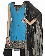 Turquoise/Black Georgette Suit- Indian Semi Party Dress