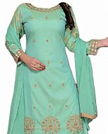 Light Sea Green Silk Suit- Indian Semi Party Dress