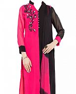 Pink/Black Chiffon Suit- Indian Semi Party Dress