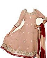 Beige/Maroon Chiffon Suit- Indian Semi Party Dress