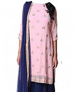 Pink/Blue Chiffon Suit- Indian Semi Party Dress