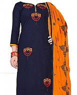Navy/Mustard Georgette Suit