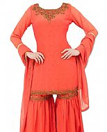 Coral Chiffon Suit- Indian Semi Party Dress