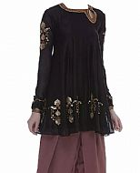 Black/Mauve Chiffon Suit- Indian Semi Party Dress