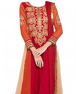 Magenta/Rust Chiffon Suit- Indian Semi Party Dress