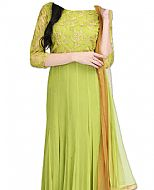 Apple Green Chiffon Suit- Indian Semi Party Dress