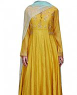 Mustard Silk Suit- Indian Semi Party Dress