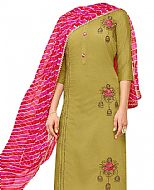 Olive Georgette Suit- Indian Semi Party Dress