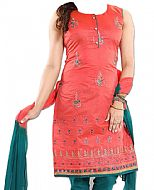 Coral/Teal Georgette Suit- Indian Semi Party Dress