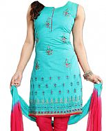Turquoise/Red Georgette Suit- Indian Dress
