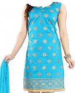 Turquoise/Ivory Georgette Suit- Indian Semi Party Dress