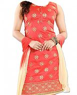 Coral/Cream Georgette Suit- Indian Semi Party Dress