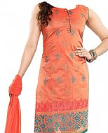 Orange/Teal Georgette Suit- Indian Semi Party Dress