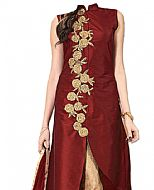 Maroon/Golden Silk Suit