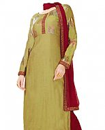 Olive/Maroon Georgette Suit- Indian Semi Party Dress