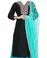 Black/Turquoise Georgette Suit- Indian Semi Party Dress
