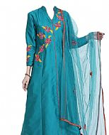Blue/Red Georgette Suit- Indian Semi Party Dress