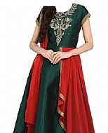 Bottle Green Georgette Suit- Indian Semi Party Dress