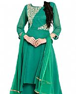 Teal Green Chiffon Suit- Indian Semi Party Dress