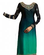 Teal Chiffon Suit- Indian Semi Party Dress