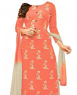Off-white/Peach Georgette Suit- Indian Semi Party Dress