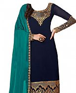 Navy Georgette Suit- Indian Semi Party Dress