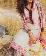 Off-White/Pink Lawn Suit- Pakistani Lawn Dress