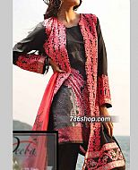 Peach/Black Cotton Lawn Suit- Pakistani Designer Lawn Dress