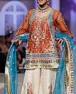 Rust/Off-white Chiffon Suit- Pakistani Party Wear Dress