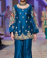 Blue Silk Suit- Pakistani Formal Designer Dress