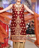 Maroon/Beige Chiffon Suit- Pakistani Formal Designer Dress