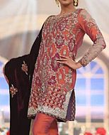 Rust Silk Suit- Pakistani Formal Designer Dress
