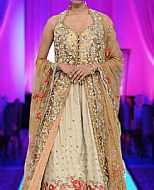 Ivory/Golden Silk Suit- Pakistani Formal Designer Dress