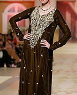 Dark Brown Silk Suit- Pakistani Party Wear Dress